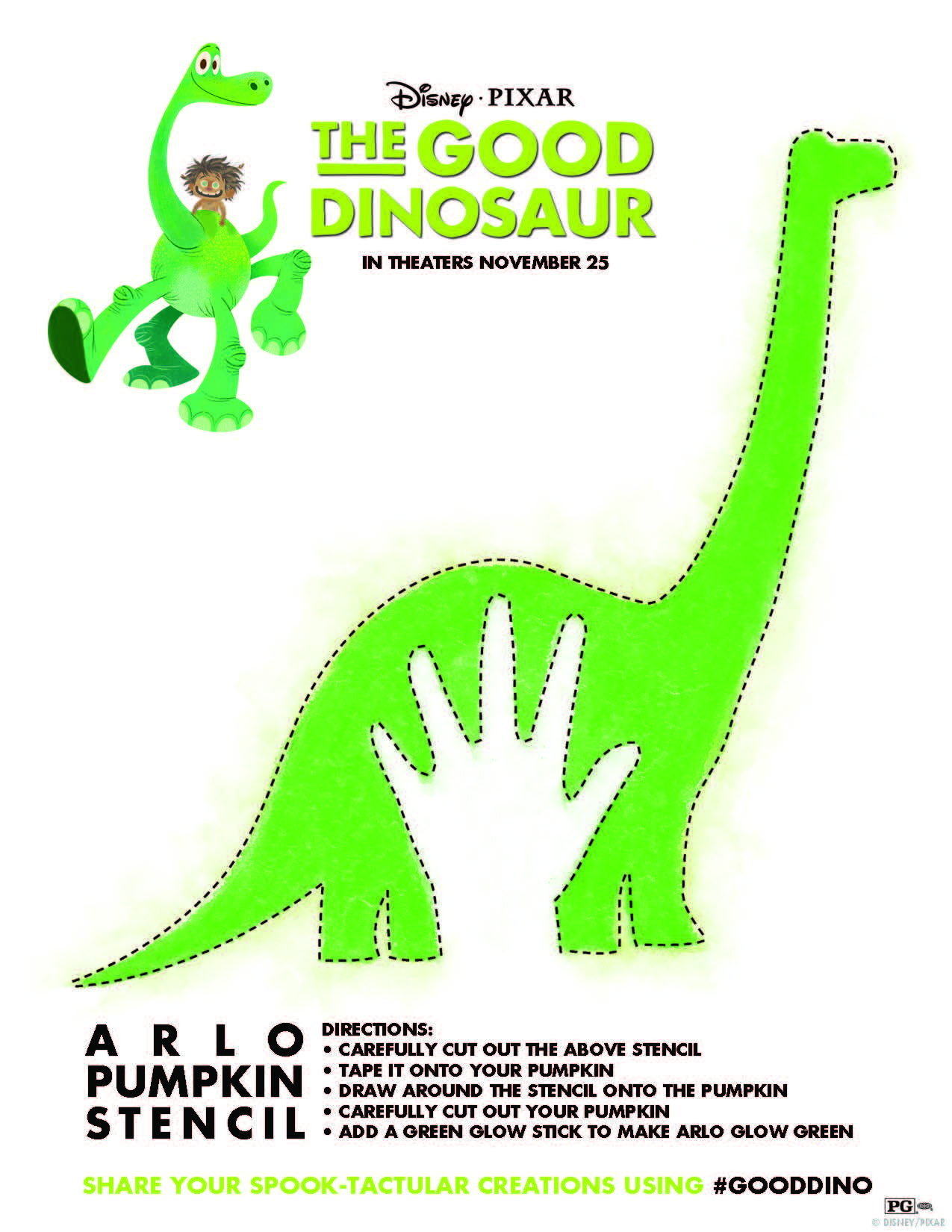 The Good Dinosaur Pumpkin Stencil, Coloring Sheets and More ...