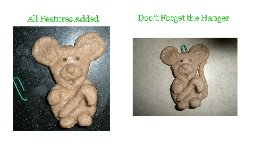 salt dough Christmas mice ornaments