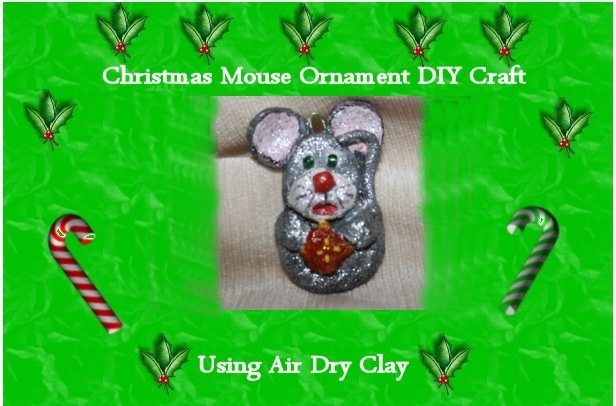 Air Dry Clay Christmas Ornament DIY Mouse