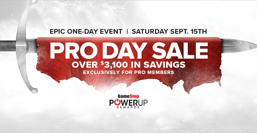 Crazy-Good Deals at GameStop PRO DAYS Sale Sept. 15!