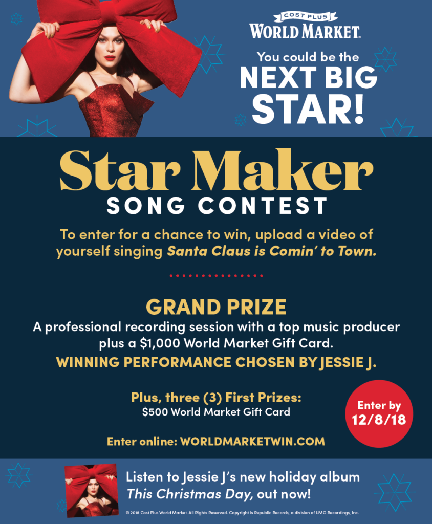 World Market Star Maker Song Contest! Time for Christmas Carols and Tree Trimming!