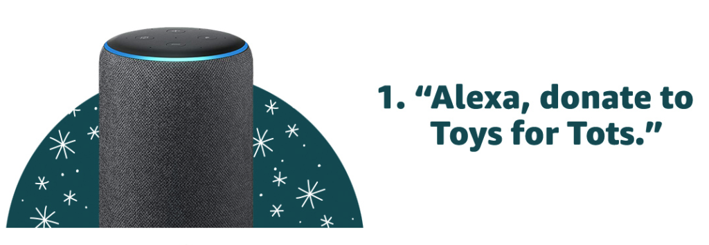 Donate a toy to Toys for Tots via Alexa and Amazon will match your donations! #DeliveringSmiles