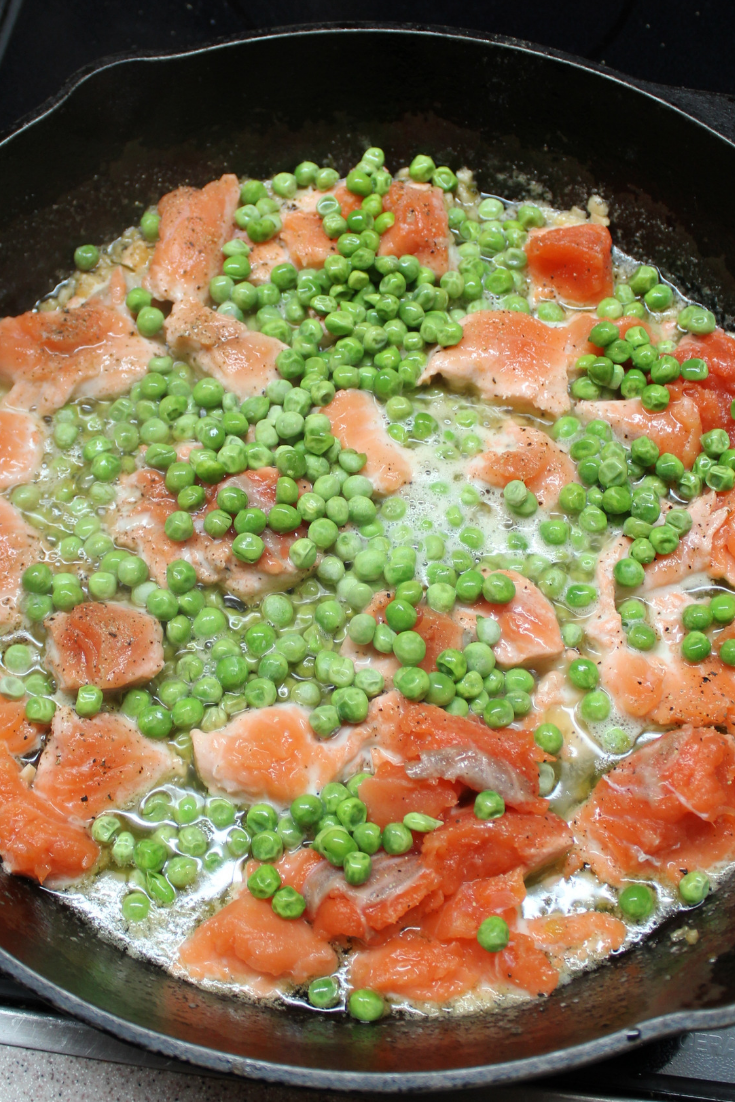 Fresh Salmon with Lemon Garlic Sauce and Spring Peas