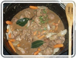 Beef in Stout with Dumplings Recipe Prior to Boiling