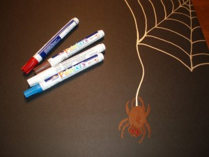 Spider and web drawn on Elmers Foam Poster Board with Painters Markers