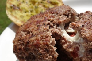 Bruschetta Stuffed Burgers with Pesto Grilled Cibatta Rolls #Recipe