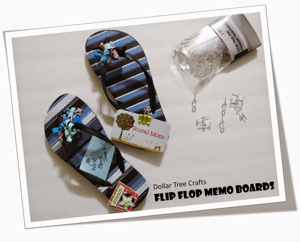 Dollar Tree Crafts:  Flip Flop Memo Boards #DIY