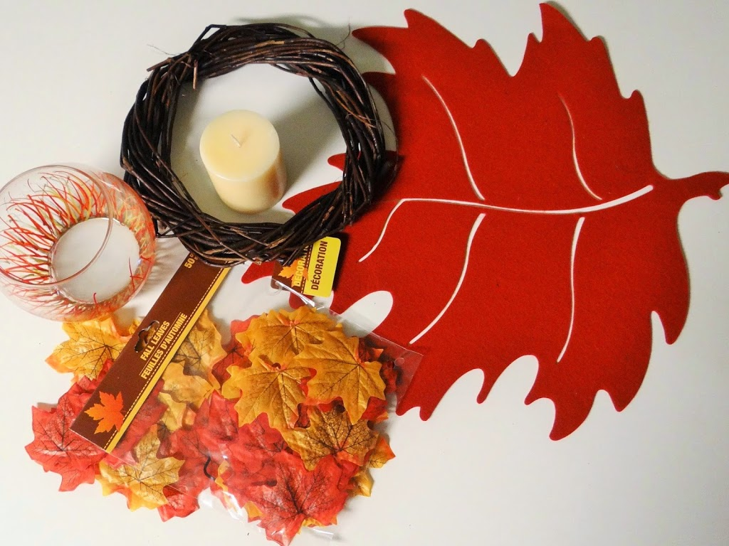 Dollar Tree Crafts: Thanksgiving Autumn Leaf Candle Centerpiece #DIY