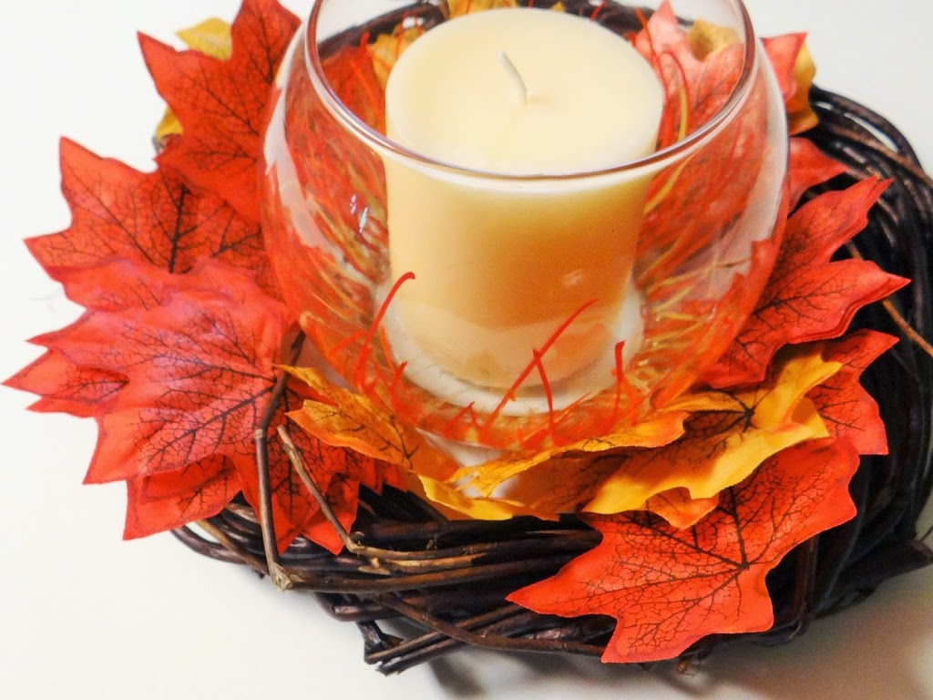 Dollar Tree Crafts: Thanksgiving Autumn Leaf Candle Centerpiece #DIY