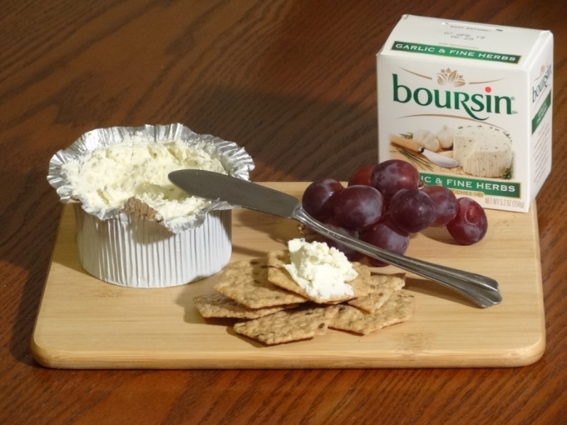 Boursin cheese w grapes crackers
