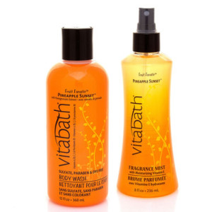 Vitabath_BodyWashFragranceMist_12ozCarrierSet_PineappleSunset - Unique Gift Ideas for Mother's Day