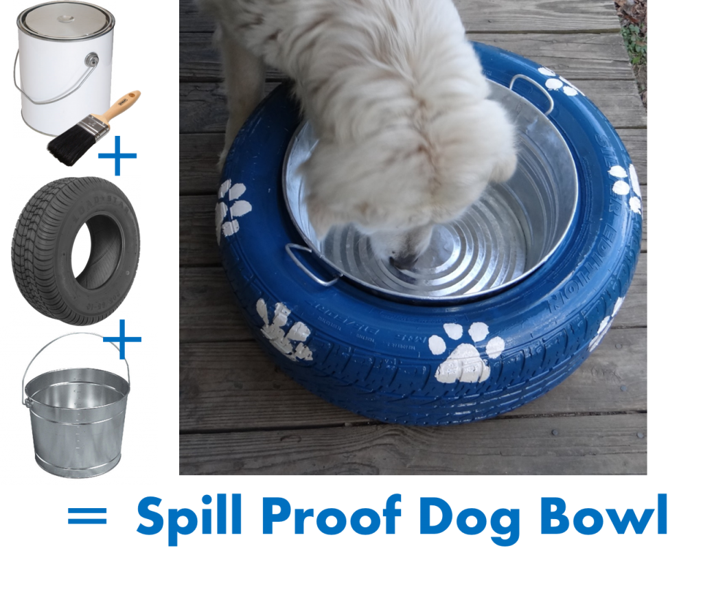 Spill Proof Dog Bowl Recycled Tire DIY! #OldTiresTurnNew