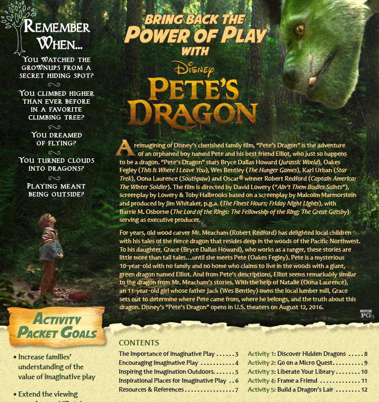 Bring Back the Power of Play with PETE'S DRAGON Activity Sheets #PetesDragon