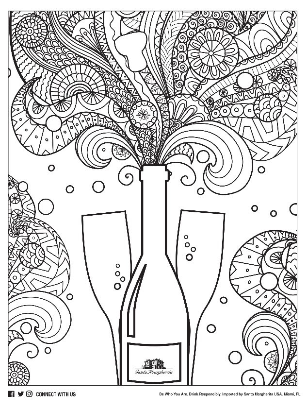 Free Adult Coloring Pages Inspired by Wine!