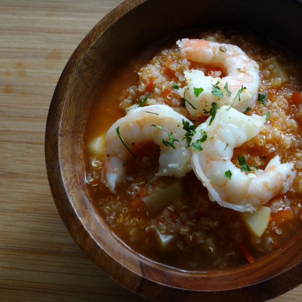 Peruvian Quinoa Soup with Coriander Shrimp