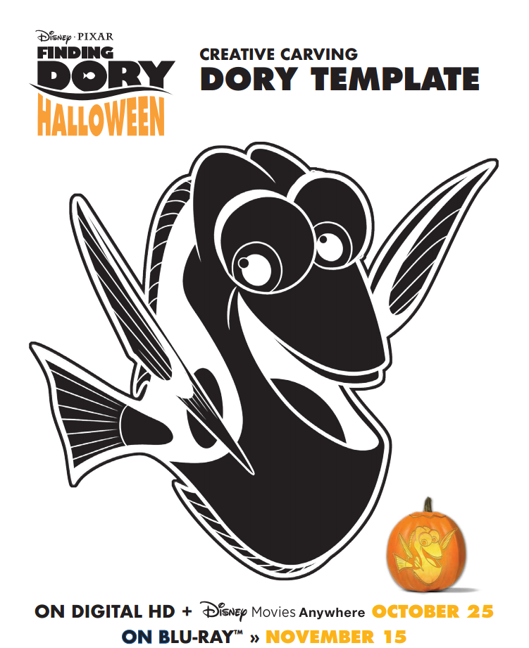 Free FINDING DORY Pumpkin Stencil and Halloween Activities!