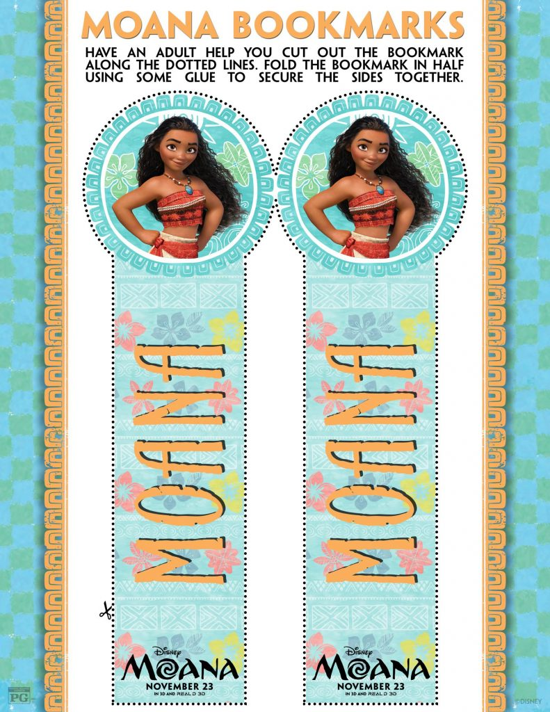 Make Your Own MOANA Bookmarks and More! | #MOANA Coloring Pages and Activity Sheets