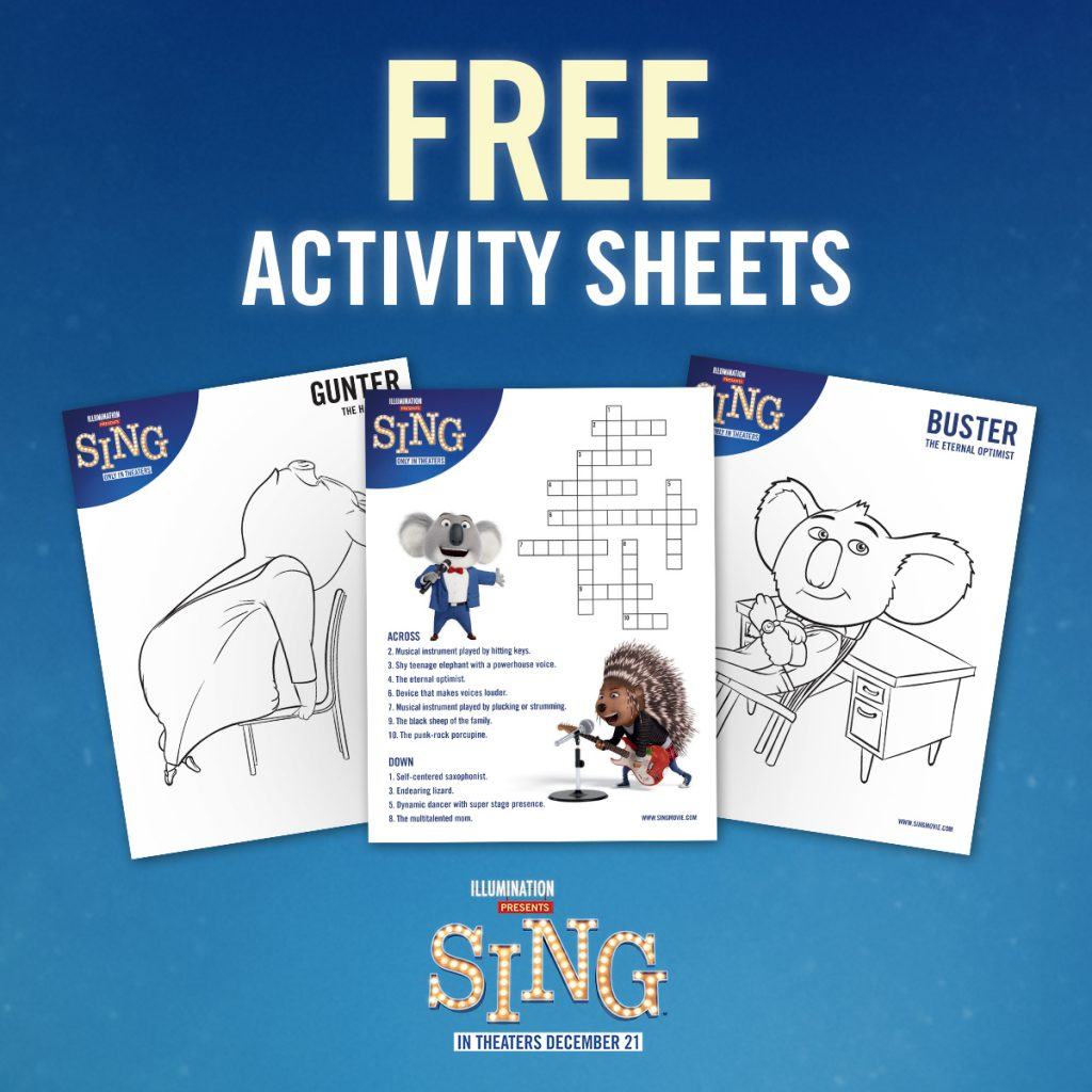 SING Coloring and Activity Sheets (and a Giveaway!) #SingMovie
