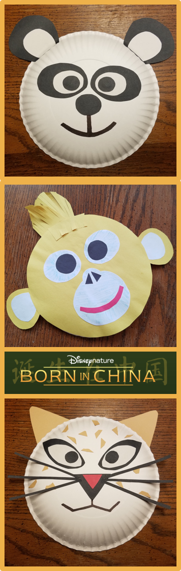 BORN IN CHINA Paper Plate Craft - Giant Panda, Golden Monkey, Snow Leopard