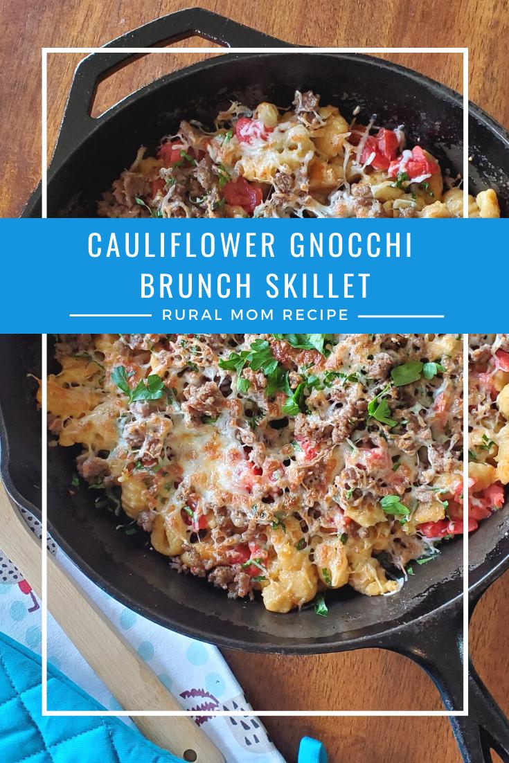 Cauliflower Gnocchi Brunch Skillet with Cauliflower Hash Browns with Sour Cream and Scallions